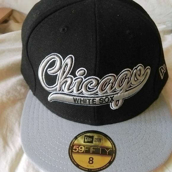 MLB Chicago White Sox Flat Brim Hat. NWT. New Era 59 Fifty 264eae85c93c